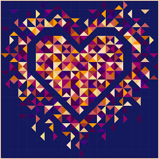 Exploding Heart quilt in sunset inspired solid colors
