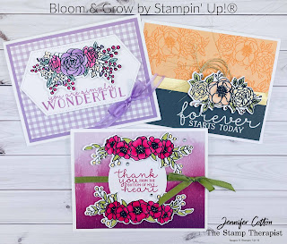 These cards use the Bloom & Grow bundle by Stampin' Up! plus the Tasteful Labels dies, Artistry Blooms Designer Series Paper (DSP), and Pansy Petals Designer Series Paper (DSP).  The images are colored in with Stampin' Blends.  See the blog post for supply list and video.  #StampinUp #StampTherapist #BloomandGrow