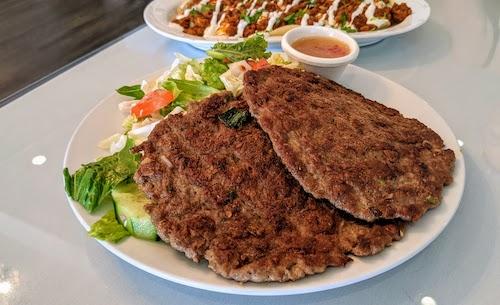 Beef chapli kabob with salad