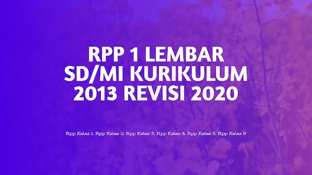 RPP 1 LEMBAR SD/MI KURIKULUM 2013 REVISI 2020