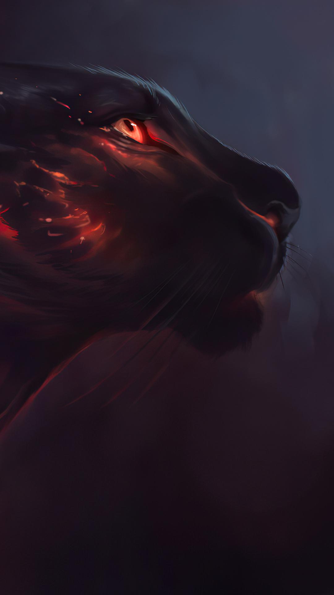 Wallpaper Fantasy Black Tiger 4k