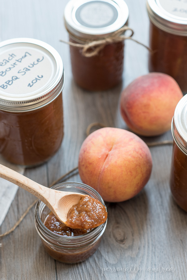 Peach & Bourbon BBQ Sauce |  Sweet and tangy sauce for grilled meats and savoury spread for an appetizer tray | personallyandrea.com