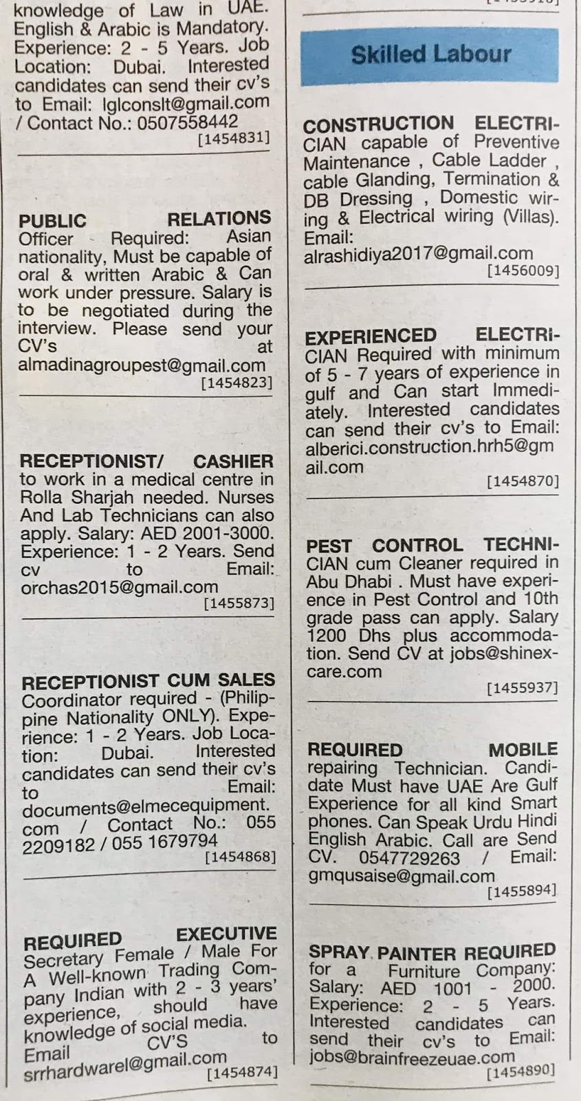 Various Positions Hiring in UAE Local Hiring Jobs Khaleej Times-UAE