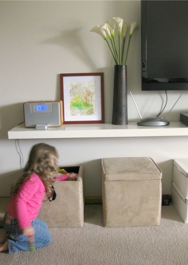 kid-friendly minimalist living room entertainment center