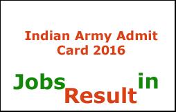 Indian Army Admit Card 2016