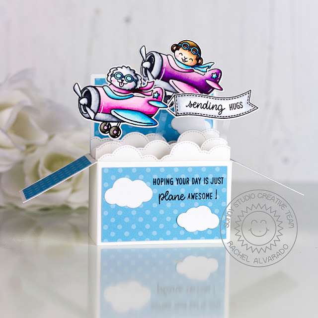 Sunny Studio Stamps: Plane Awesome Fluffy Clouds Border Dies Sending Hugs Card by Rachel Alvarado