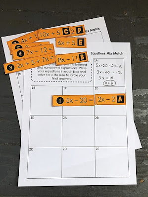 Solving Equations Mix Match Activity - print and digital