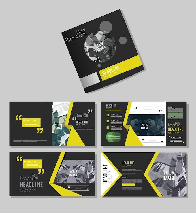 Brochure templates dark modern design leaves decor Free vector