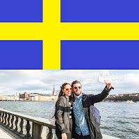 image of Sweeden flag and photo of a young couple taking a selfie near Stockholm bridge