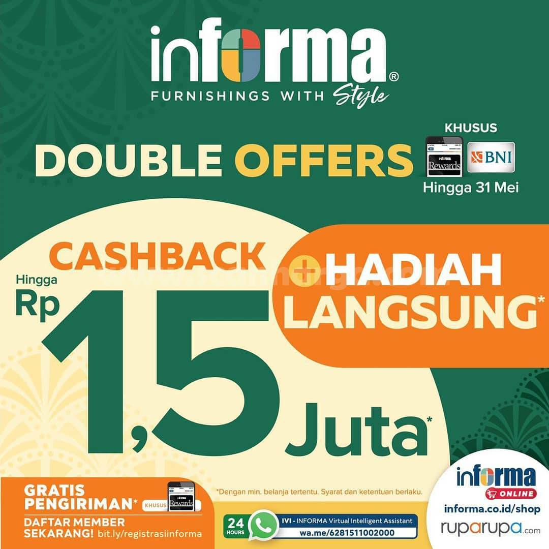 Promo Informa Cashback hingga Rp 1.5 Juta khusus Member /Kartu BNI