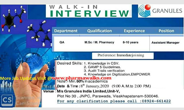 Granules india walk-in interviews on 8th Jan' 2020 @ Visakhapatnam