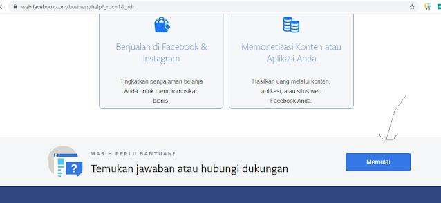 membuka halaman support center facebook