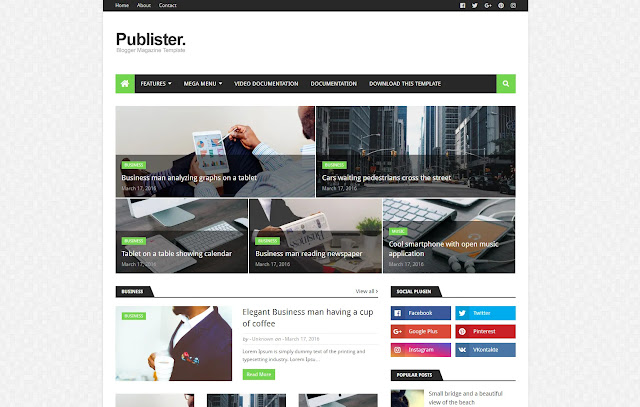 Publister Responsive Magazine News Sites Blogger Template Theme