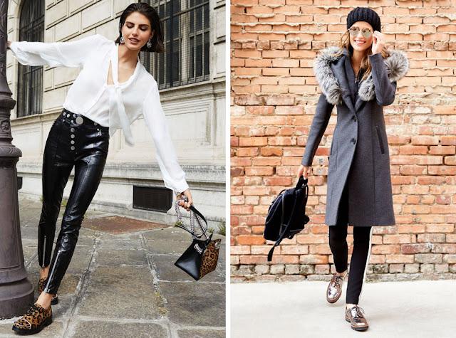 Ботинки в мужском стиле с леопардовым принтом и кожаными брюками и броги металлик с пальто