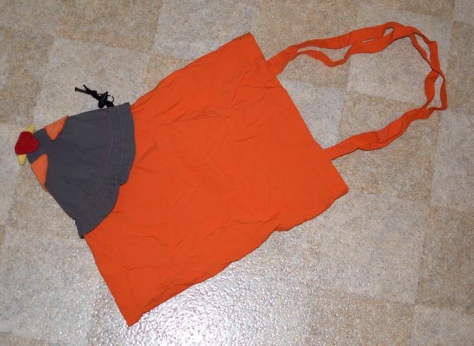 Komplettansicht der geöffneten Einkaufstasche Eule von orimono