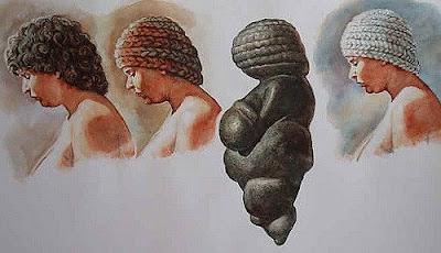 Ipotesi di acconciatura riprodotta dalla Venere di Willendorf storia dell'arte rupestre preistoria paleolitico