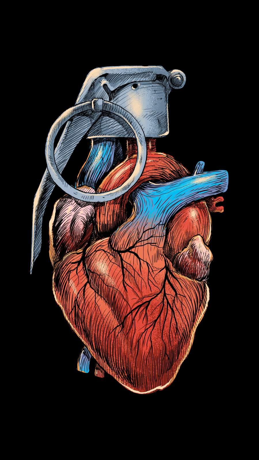 Heart Grenade art mobile Wallpaper