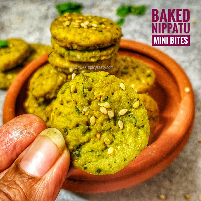 Nippatu is a perfect accompaniment for evening tea time snack . A traditional savory snack from karnataka,baked nippats have become popular now a days , baked nippat, mini nippat,baked mini nippatu, small nippatu , how to bake nippats, oil free nippat , no deep fry nippat ,karnataka special nippat