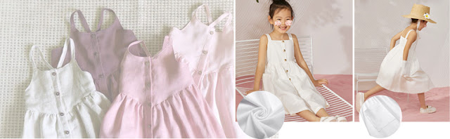 Arshiner Girl's Summer Sundress Spaghetti Strap Button Down Midi Dress with Pockets