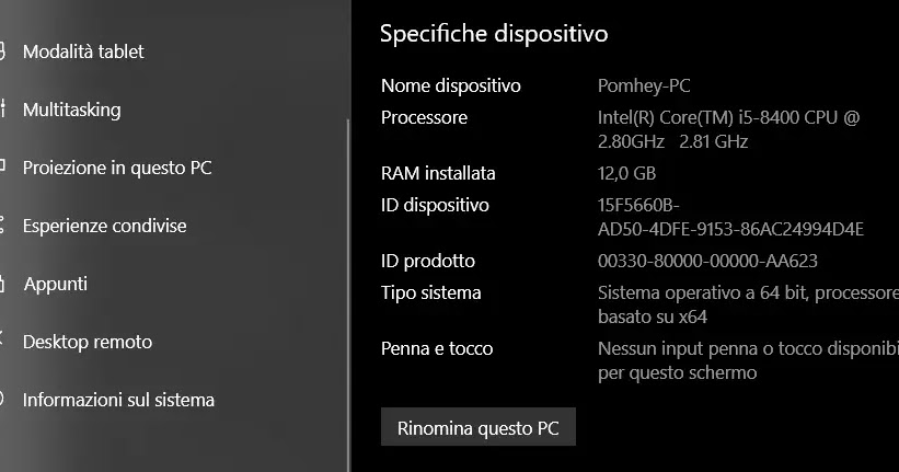 Come trovare le specifiche complete del PC Windows 10