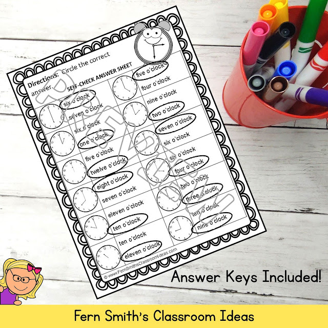 Click Here for Telling Time to the Hour Old Maid, Concentration and Go Fish Math Center Games #FernSmithsClassroomIdeas