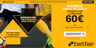 betfair supercuota Valencia gana Valladolid 18 mayo 2019