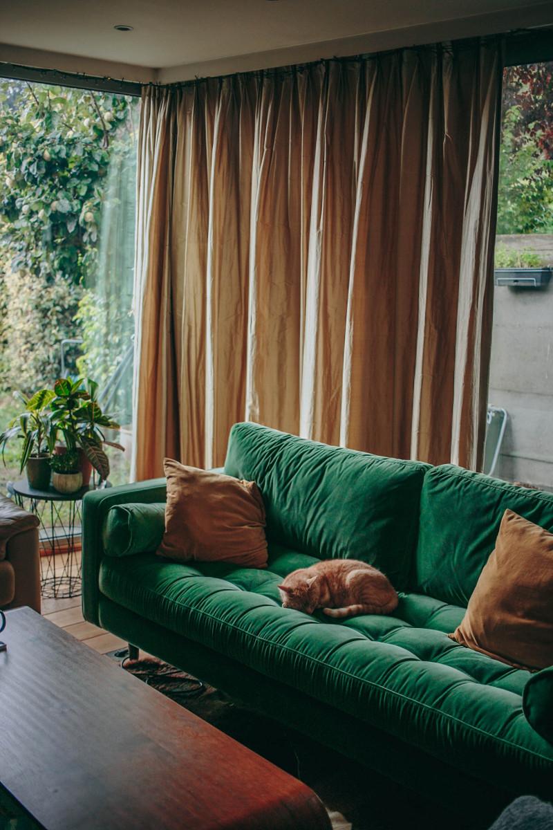 Green velvet Scott couch from Made.com