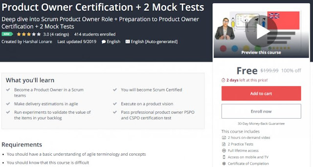 [100% Off] Product Owner Certification + 2 Mock Tests| Worth 199,99$