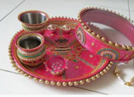 how to decorate Karwa chouth thali