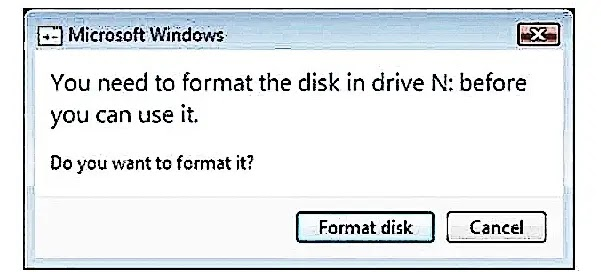You need to format the disk in drive before you can use it. Fix