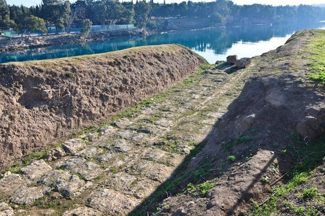 The ancient Diolkos of Corinth undergoing restoration