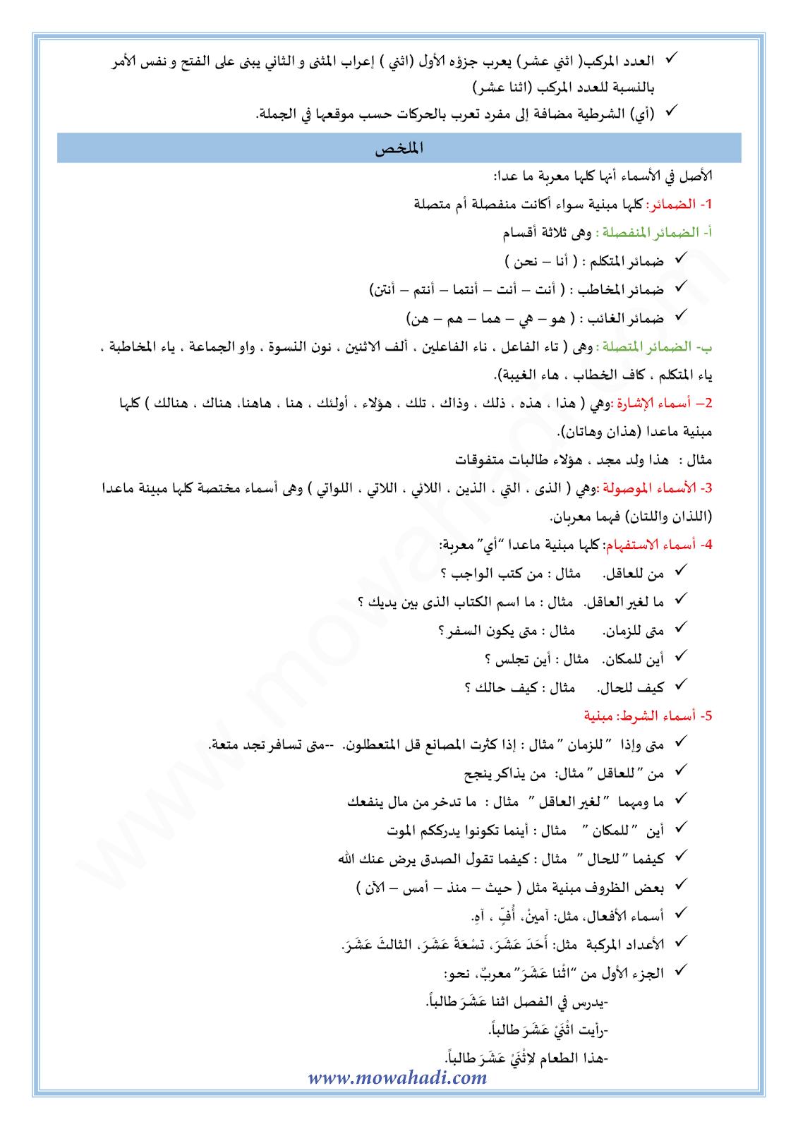 الأسماء المعربة  والأسماء المبنية-1