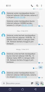 SMS notifikasi promo internet gratis telkomsel