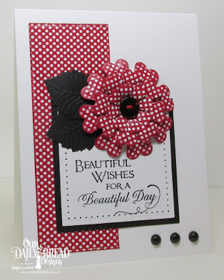 ODBD Sentiments Collection 2, ODBD Custom Pretty Posies Dies, ODBD Custom Squares Dies, ODBD Custom Stitched Rectangles Dies, ODBD Old Glory Paper Collection, Card Designer Angie Crockett
