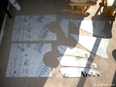 all pieces cut out for kite, flowform, tyvek, cloth