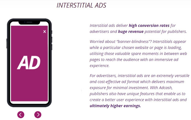 Interstitial ad format of Adcash ad network