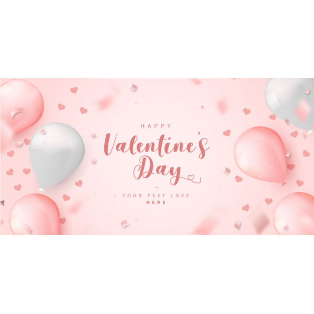 Lovely valentine's day card template with balloons Free Vector