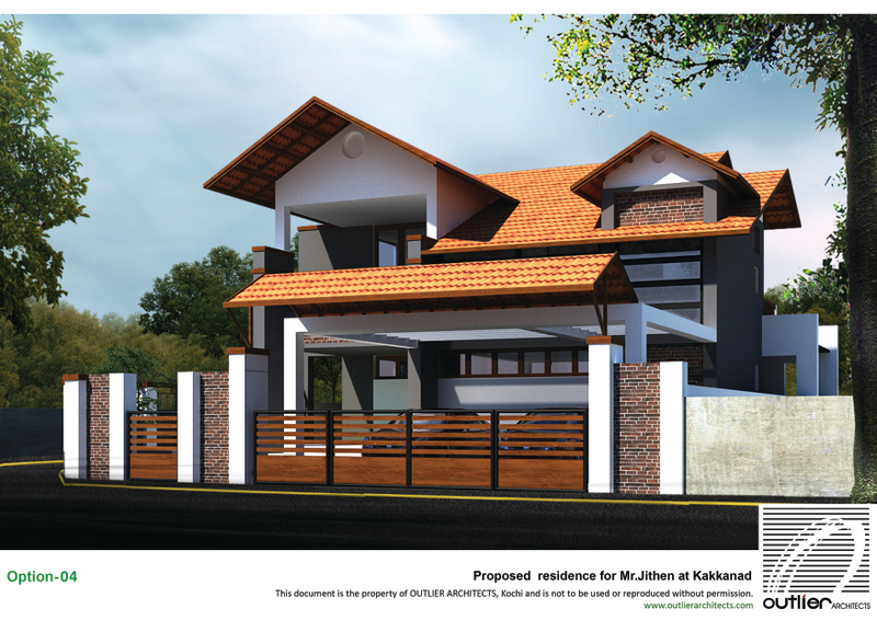 Kakkanad 2500 sq ft residence villa design Outlier Architects