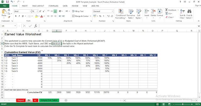 Earned Value Management (EVM) Excel Template