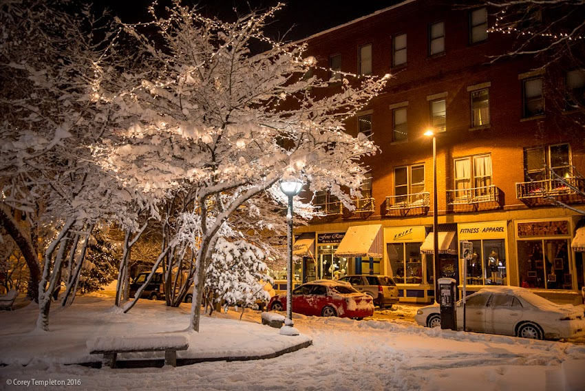 Portland, Maine USA February 2016 Photo by Corey Templeton of Fresh Snow in Post Office Park in the Old Port at night.