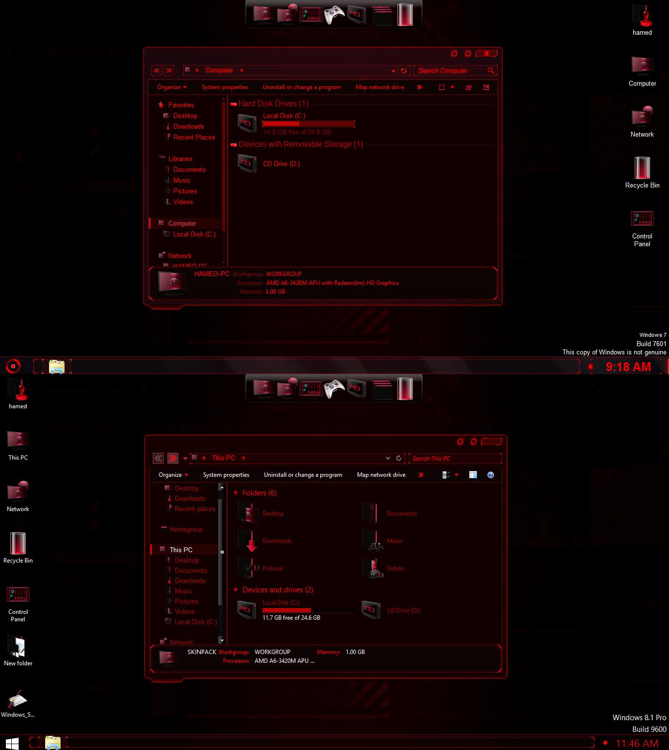 Jarvis Red SkinPack For Windows 7/8/8 1 - Cleodesktop I