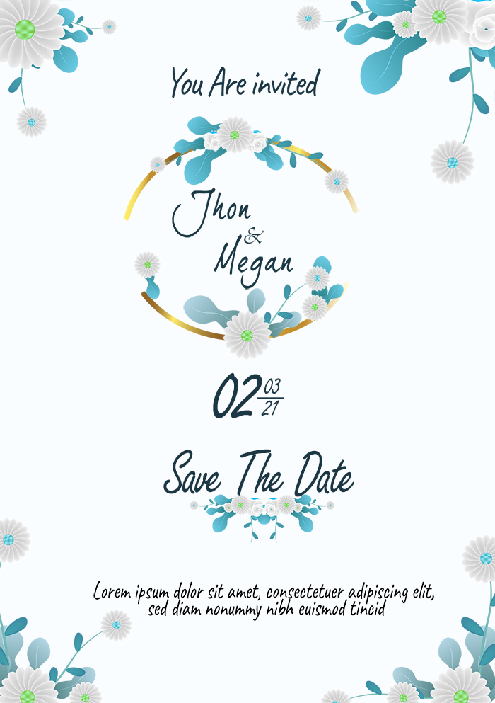 Beauty Romantic Blue Leaves And White Flower Wedding Invitation