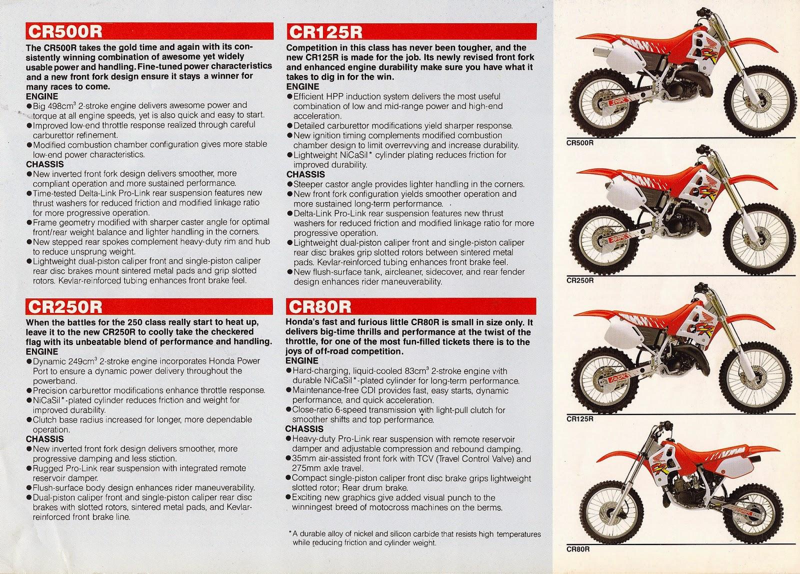 Racing Caf 232 Vintage Brochures Honda Cr Lineup 1991 Usa
