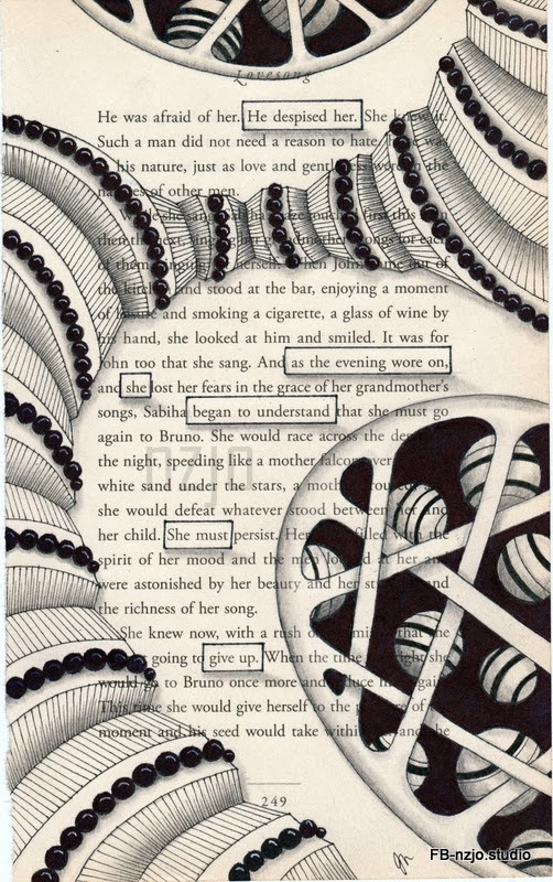 08-Give-up-Jo-Newsham-Zentangle-Drawings-on-Recycled-Vintage-Book-Pages-www-designstack-co