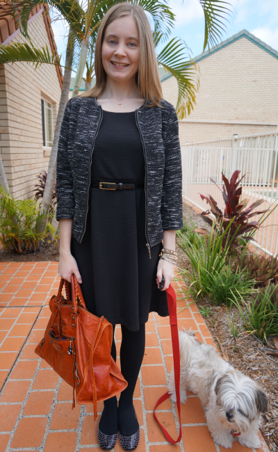 Tweed blazer textured little black dress bright orange bag halloween office