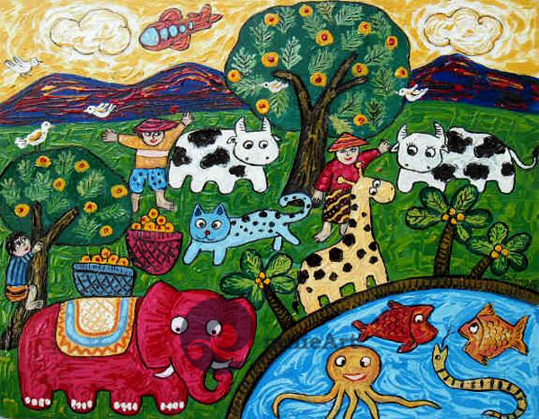 lukisan naive pak tani dan binatang