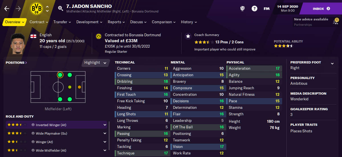 Football Manager 2021 Jadon Sancho FM21