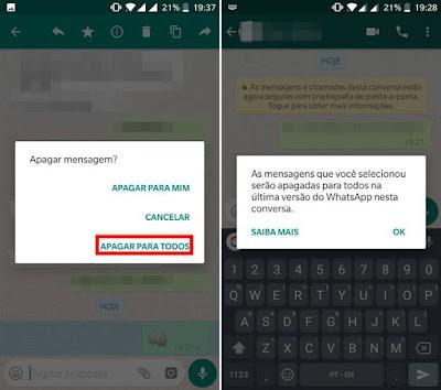 Dica – Como apagar mensagem enviada no WhatsApp.  