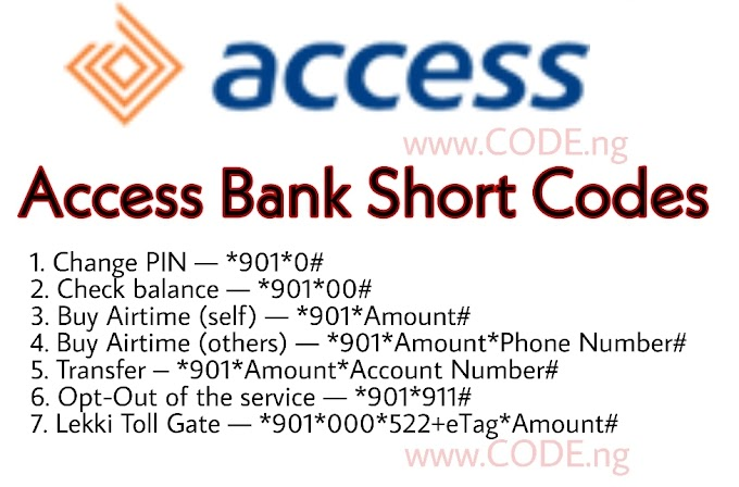 Access Bank USSD Code for Transfer, Airtime & Balance — *901#