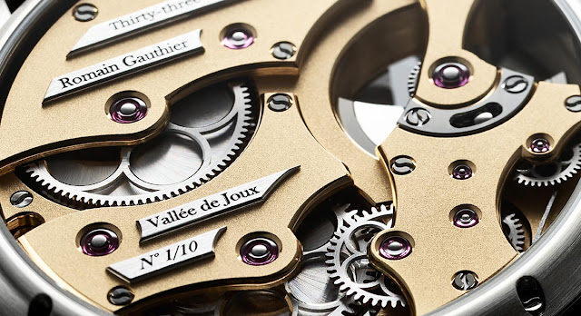 Detail of the movement of the Romain Gauthier Insight Micro-Rotor